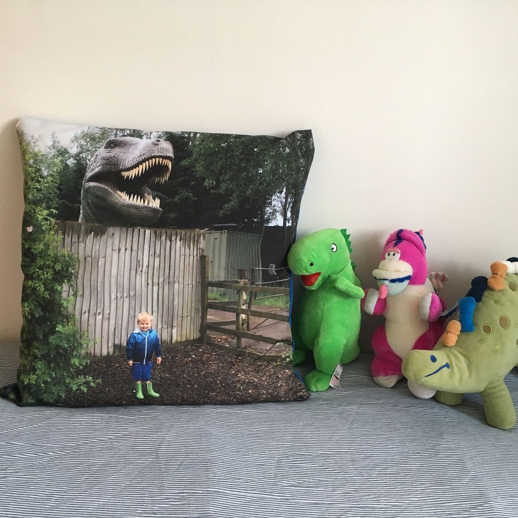 Boys bedroom décor MyPicture personalised photo cushion review dinosaurs