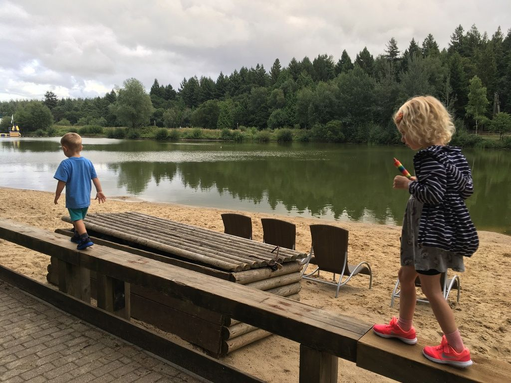 photo of lake beach at center parcs longleat for blog post July 2018 Monthl