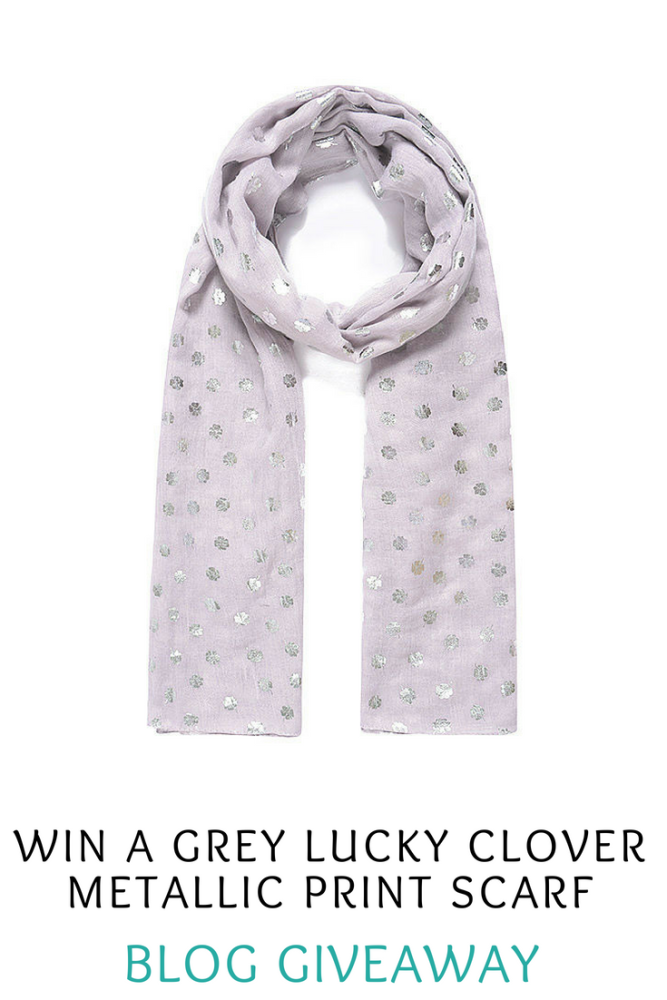 Win a Grey Lucky Clover Metallic Print Scarf in my Blog Giveaway