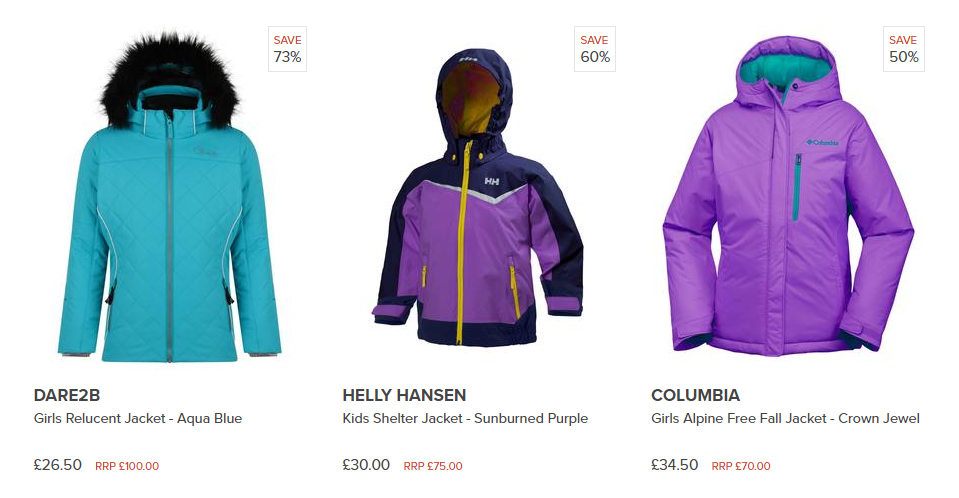 Image of three girls ski jackets from Simply Hike online outdoor gear websi