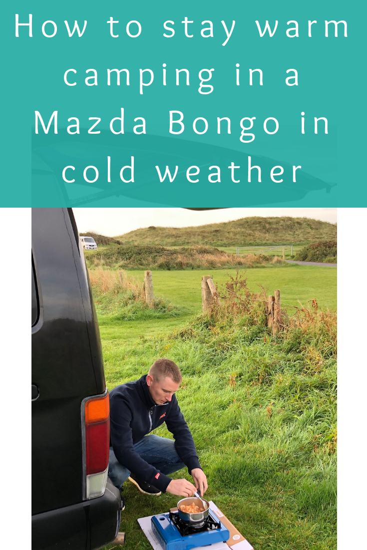 How to stay warm when camping in a Mazda Bongo in cold weather (2)