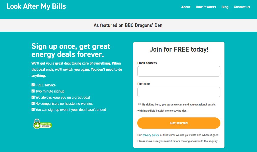 Look after my bills dragons den two minute sign up easy energy auto switch