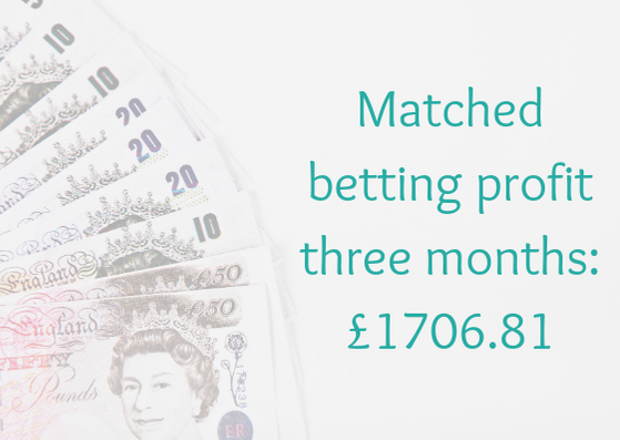 Matched betting profit after 3 months £1706.81