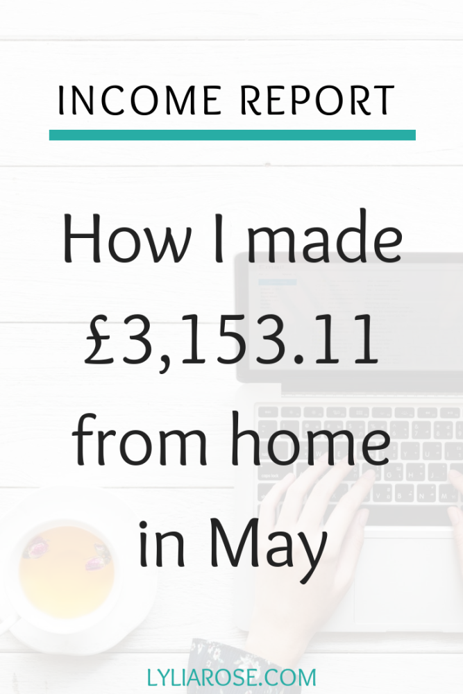 Income report - How I made £3,153.11 from home in May