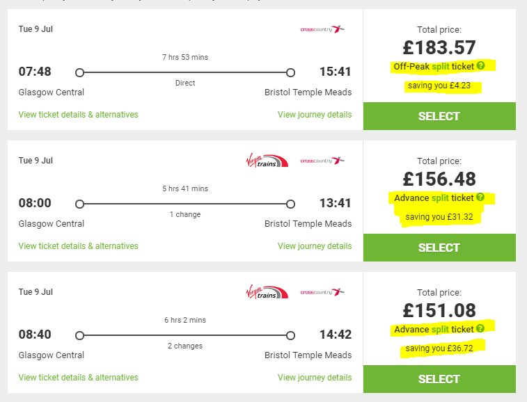 split ticket train online website cheap prices