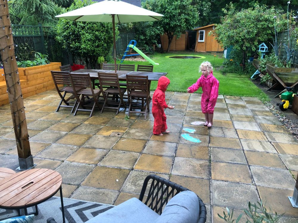 kids playing in rain in wetsuits rain suits