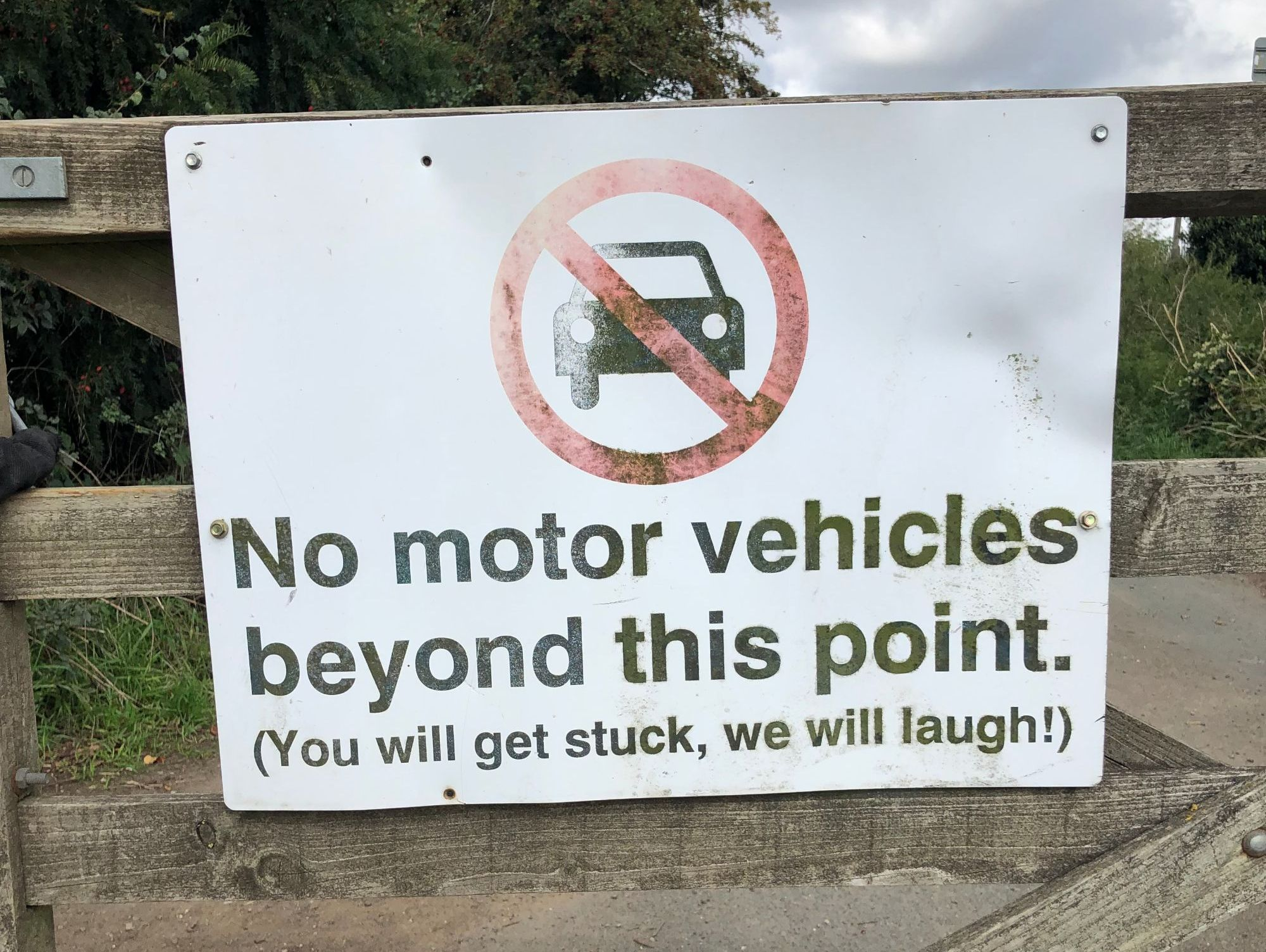 free stock photo no motor vehicles funny sign