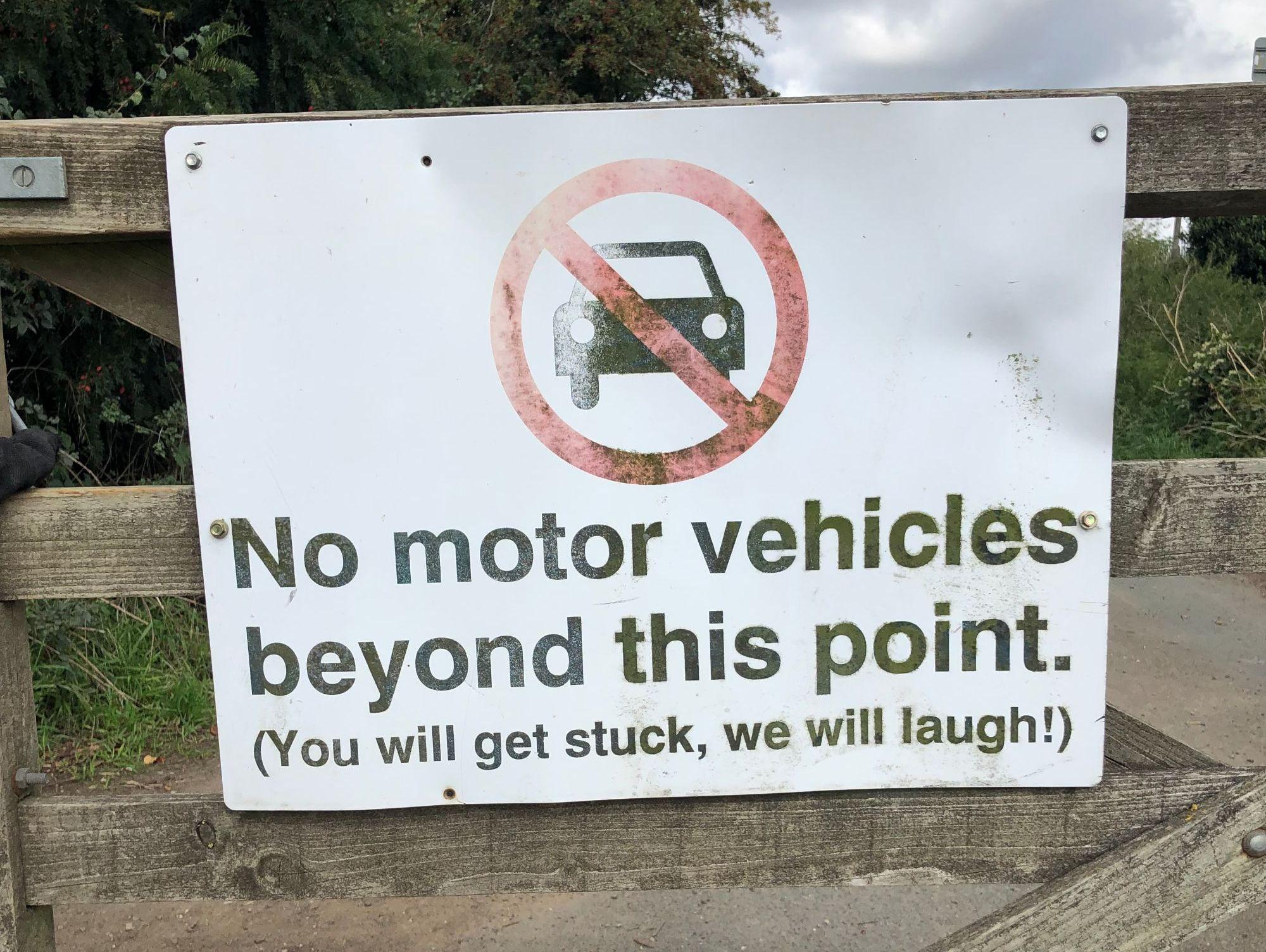 free stock photo no motor vehicles funny sign