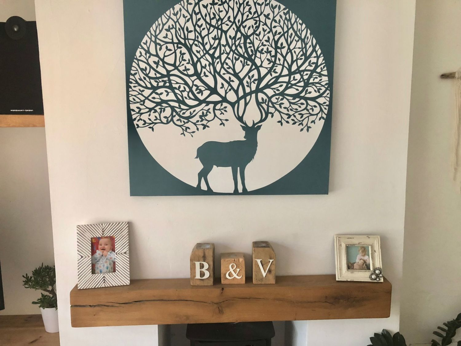 free stock image photo fireplace mantelpiece oak beam canvas artwork stag