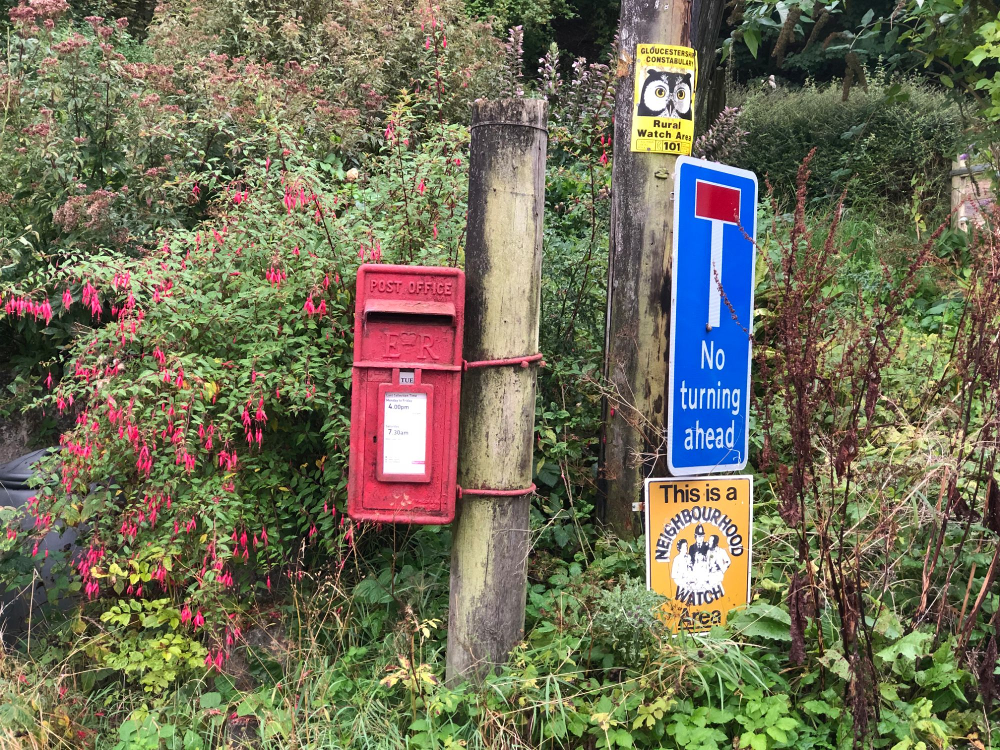 free stock image photo red post box road signs neighbourhood watch