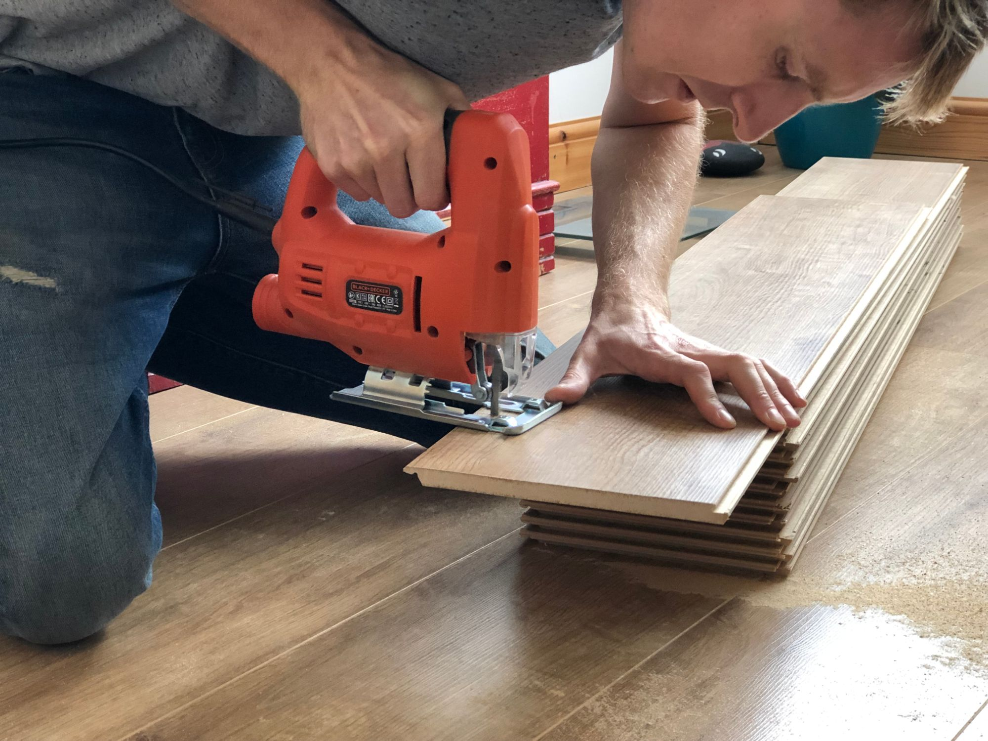 free stock image photo DIY saw laminate floor