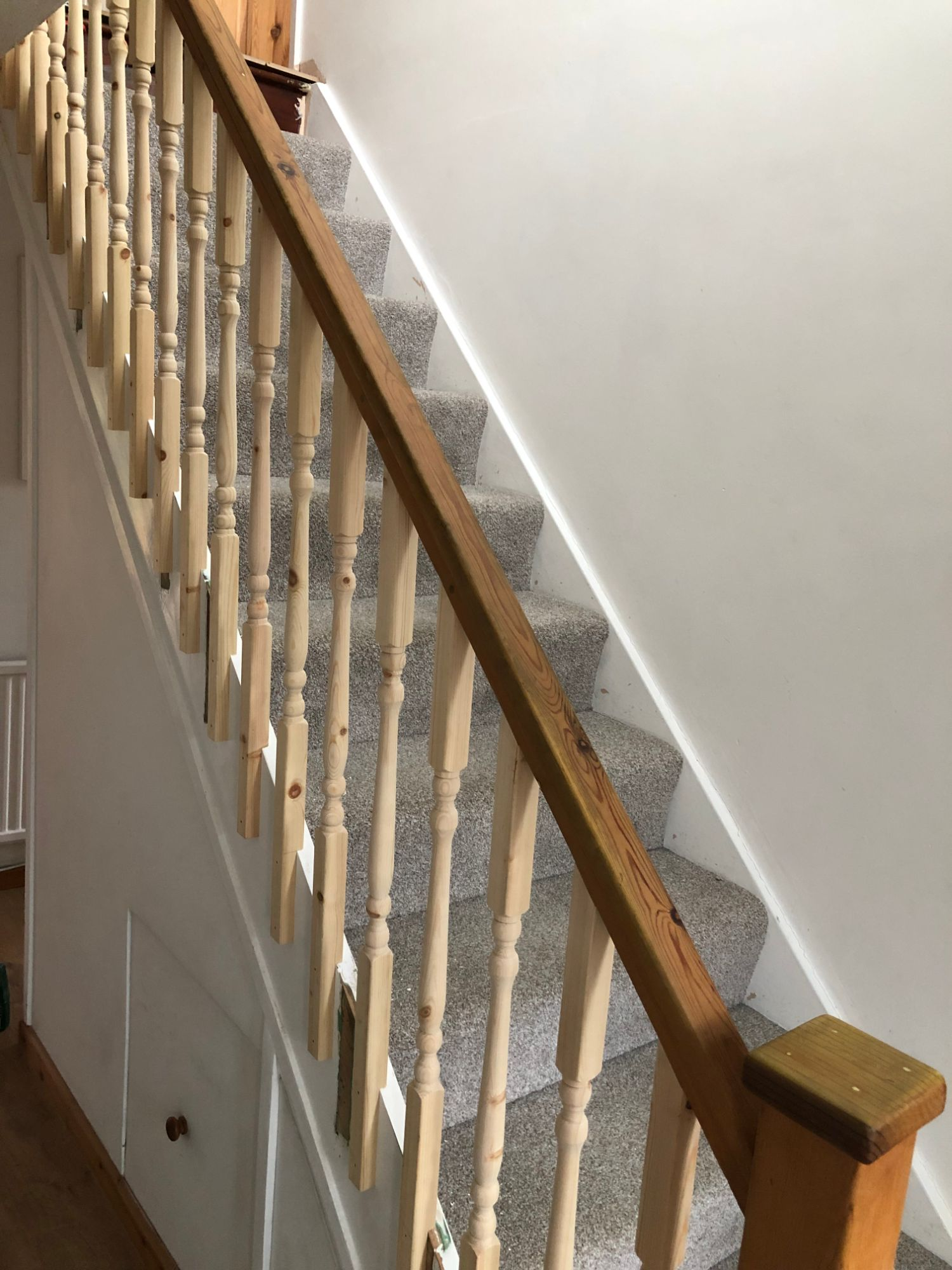 free stock image photo stairs new banister spindles unfinished DIY