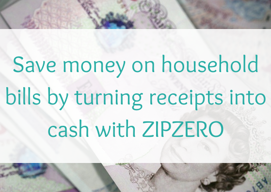 Save money on household bills by turning receipts into cash with ZIPZERO