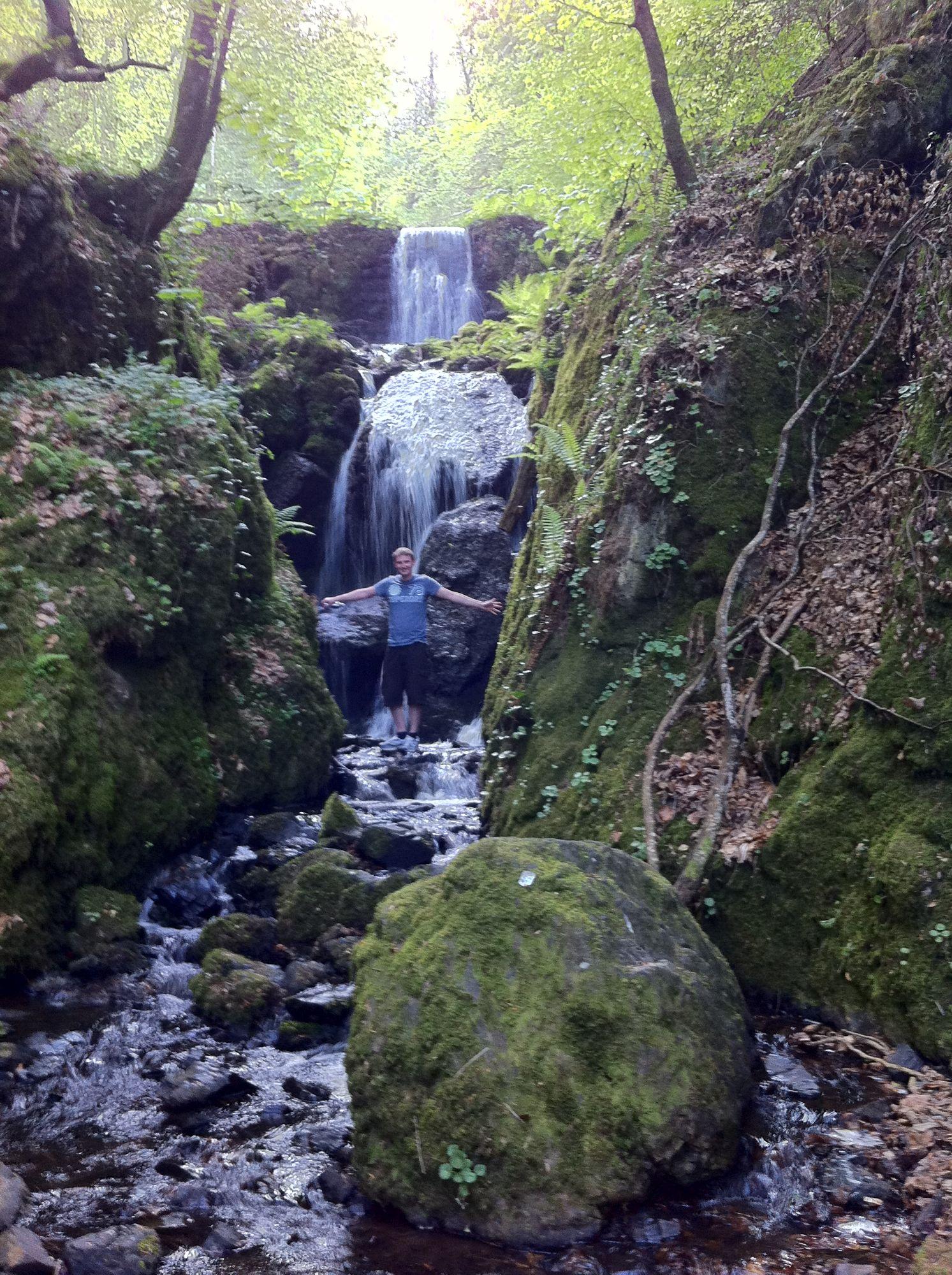 free stock photo waterfall Wales travel man nature UK