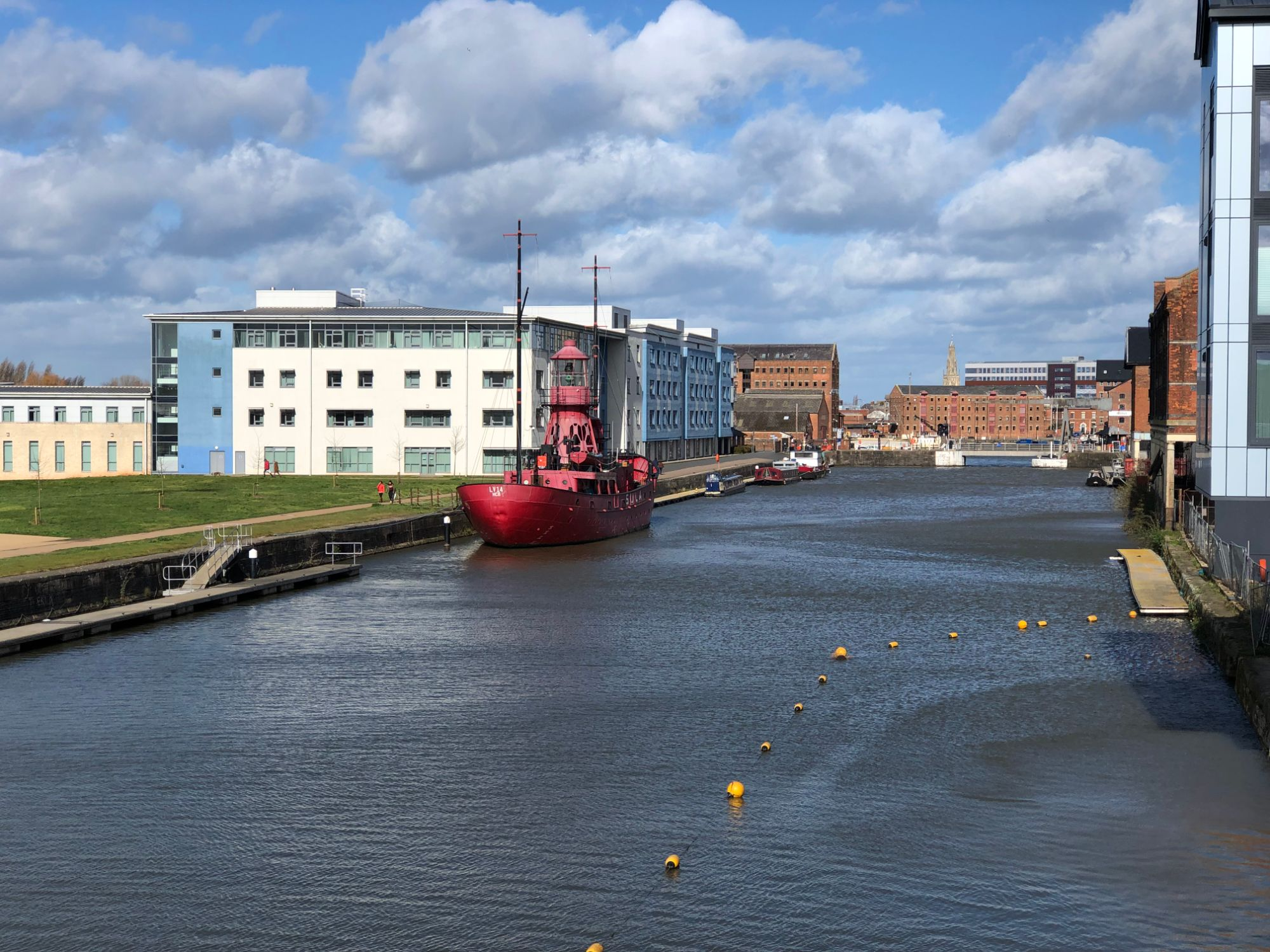 Free stock photo Gloucester Docks canal red lighthouse boat