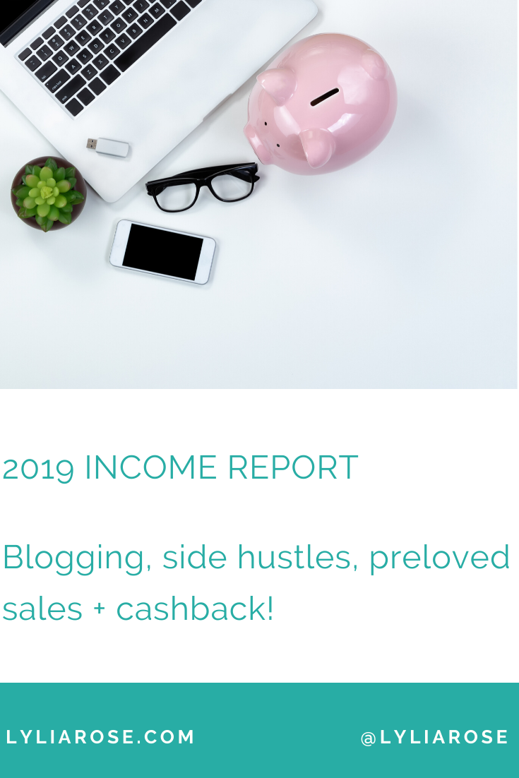2019 income report Blogging, side hustles, preloved sales + cashback