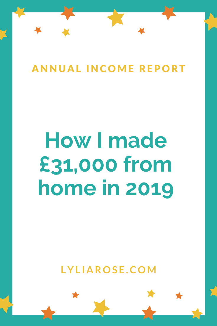 Annual income report - how I made £31,000 in 2019