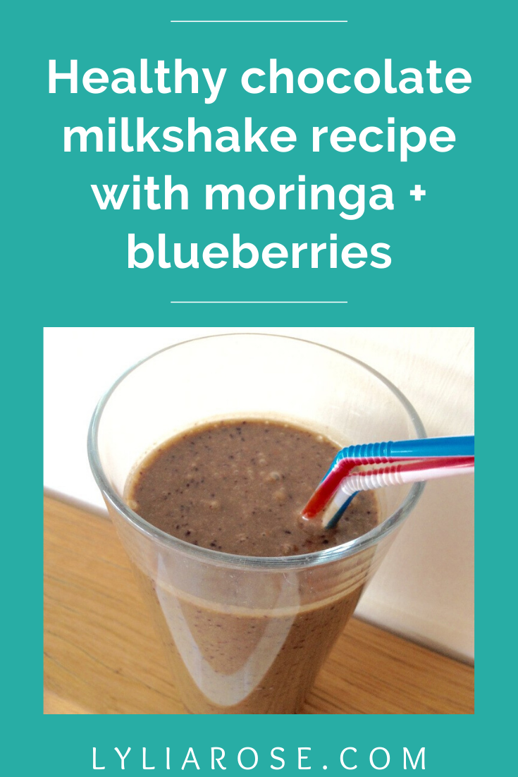 Vegan friendly healthy chocolate milkshake recipe with moringa + blueberrie