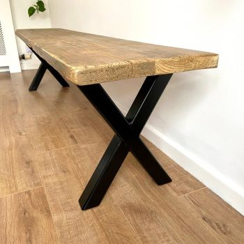 Rustic reclaimed wood dining table bench - industrial X frame legs