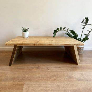 Rustic reclaimed wood coffee table - splayed legs