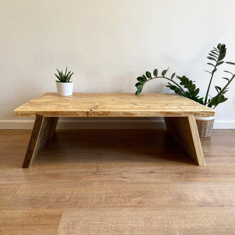 Rustic reclaimed wood coffee table with splayed legs - simplistic Scandinav