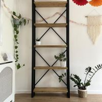 Rustic reclaimed wood shelving unit - industrial bookcase