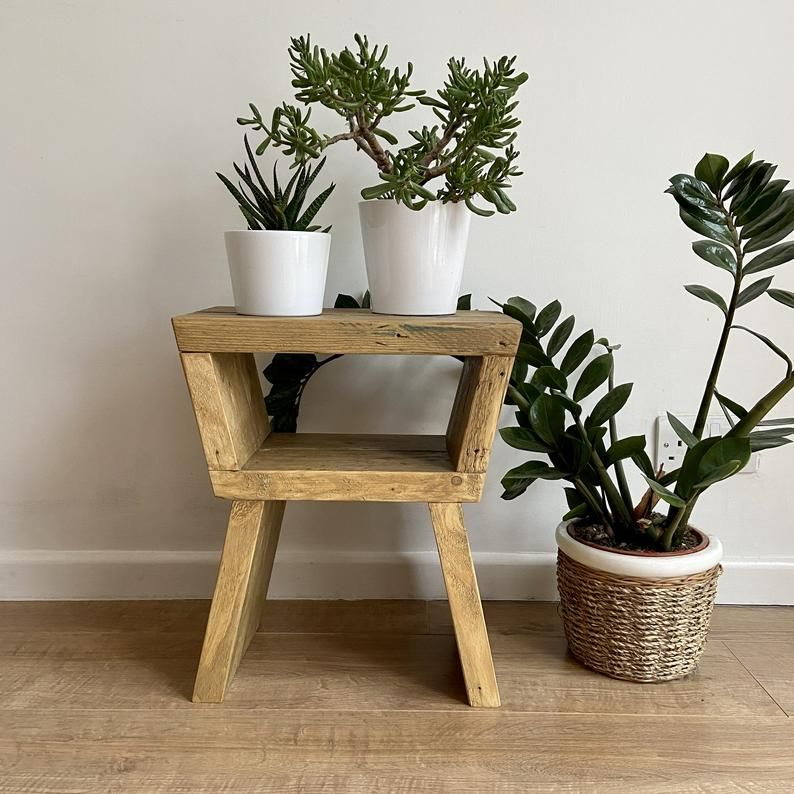 Rustic reclaimed wood small side table, coffee stand or plant stand