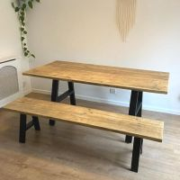 Rustic reclaimed wood dining table + bench - industrial A frame legs