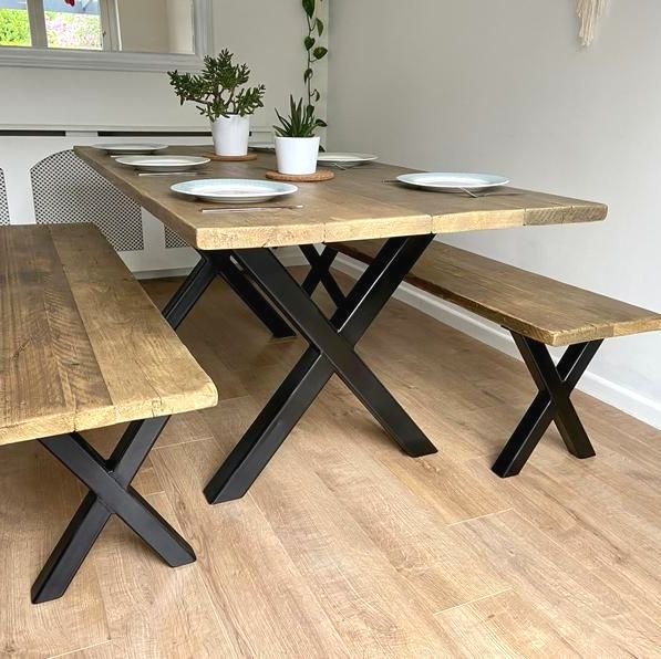 X frame rustic reclaimed wood dining table + bench with industrial black me