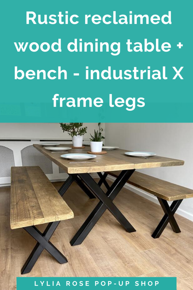 Rustic reclaimed wood dining table + bench - industrial X frame legs