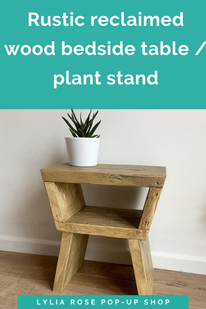 Rustic reclaimed wood bedside table plant stand