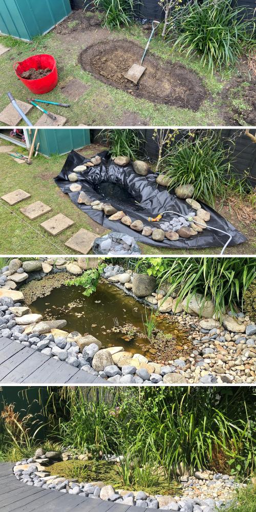 Home dug garden pond progress start to finish