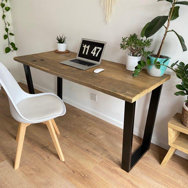Industrial Rustic Reclaimed Wood Desk - Trapezium steel legs (black) - Comp