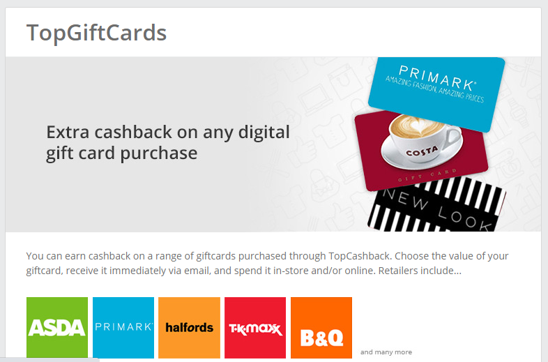Get cashback in-store with TopGiftCards