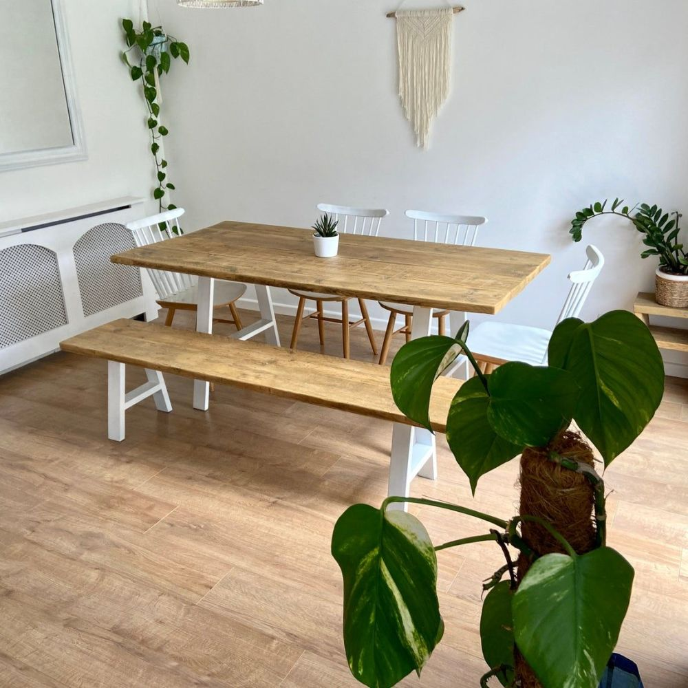 White - rustic reclaimed wood dining table + bench - industrial A frame leg