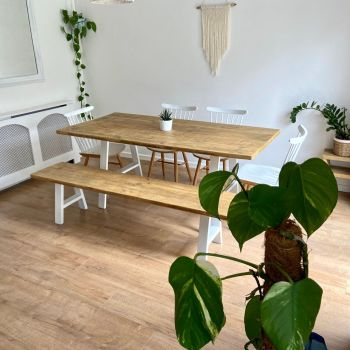 White - rustic reclaimed wood dining table + bench - industrial A frame legs