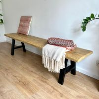 Rustic reclaimed wood dining table bench - industrial A frame legs