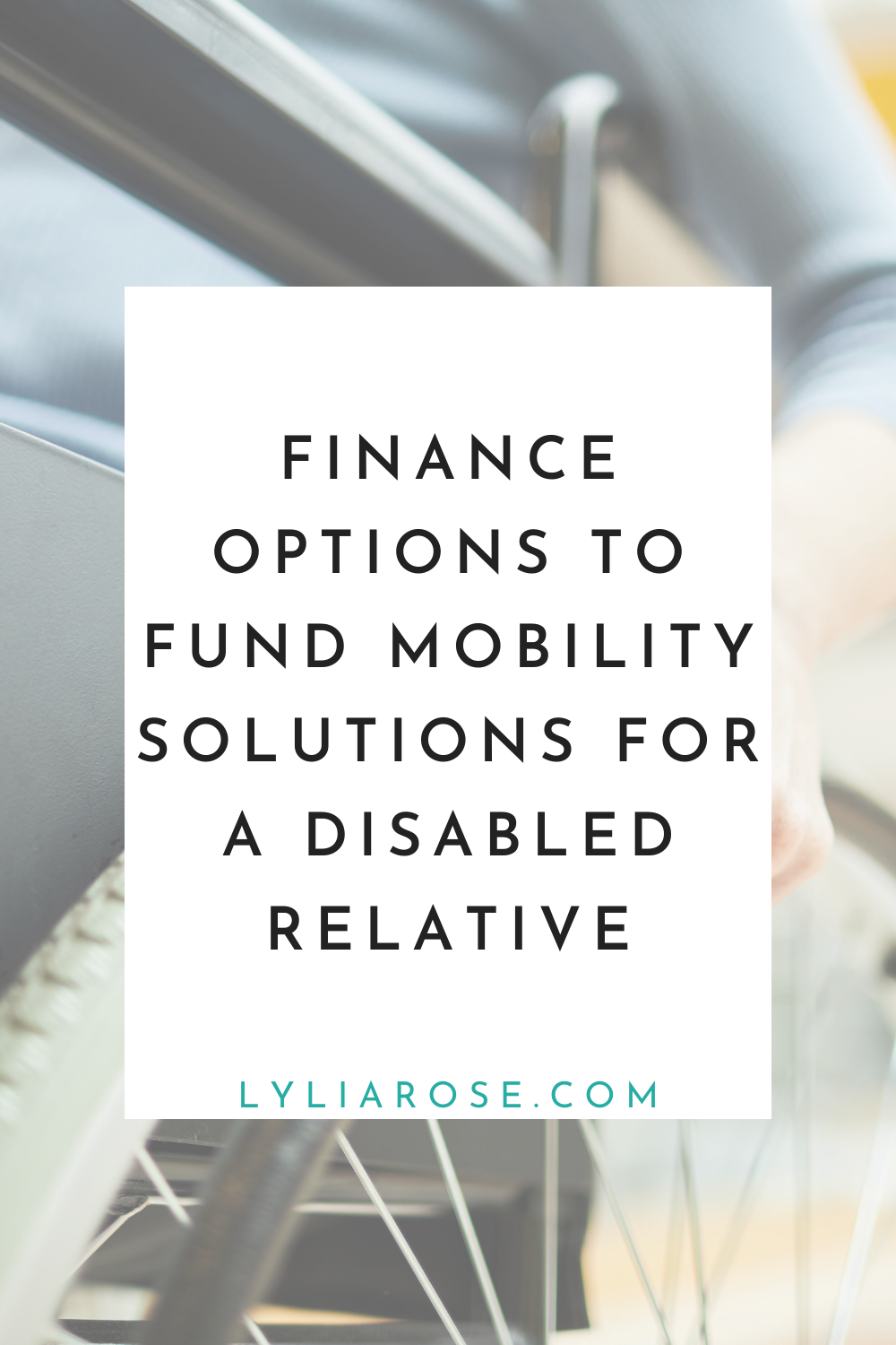 Finance options to fund mobility solutions for a disabled relative