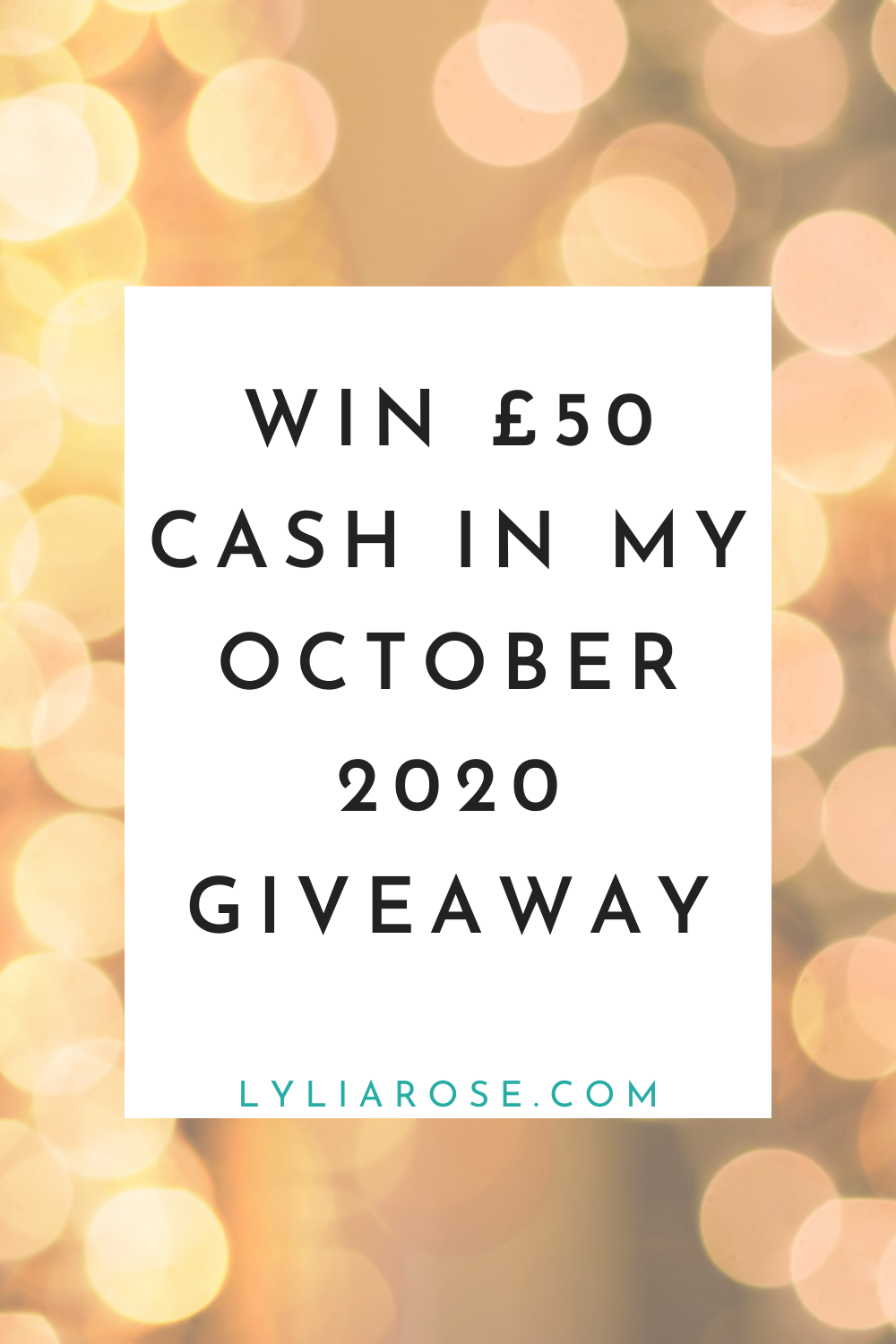 Win £50 cash in my October 2020 giveaway