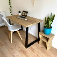 Rustic reclaimed wood desk - industrial inverted trapezium legs