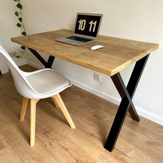 Rustic reclaimed wood desk - industrial black steel X legs