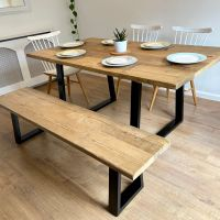 Rustic reclaimed wood dining table + bench - industrial trapezium frame legs
