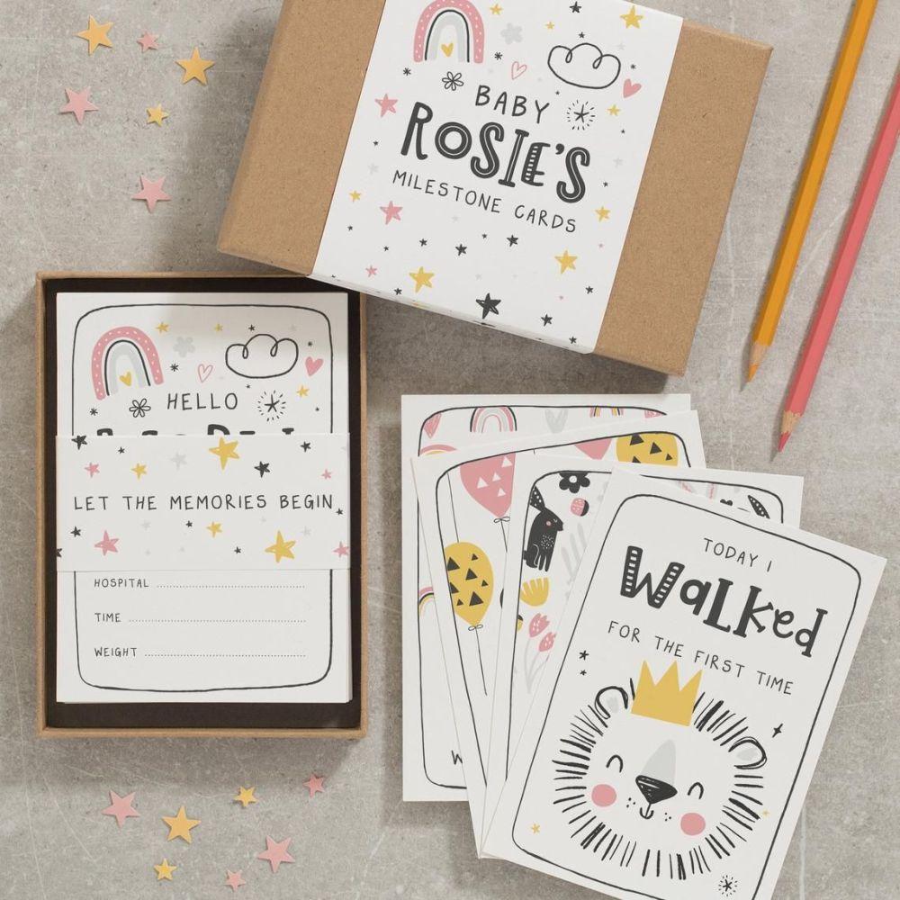 Baby milestone cards personalised