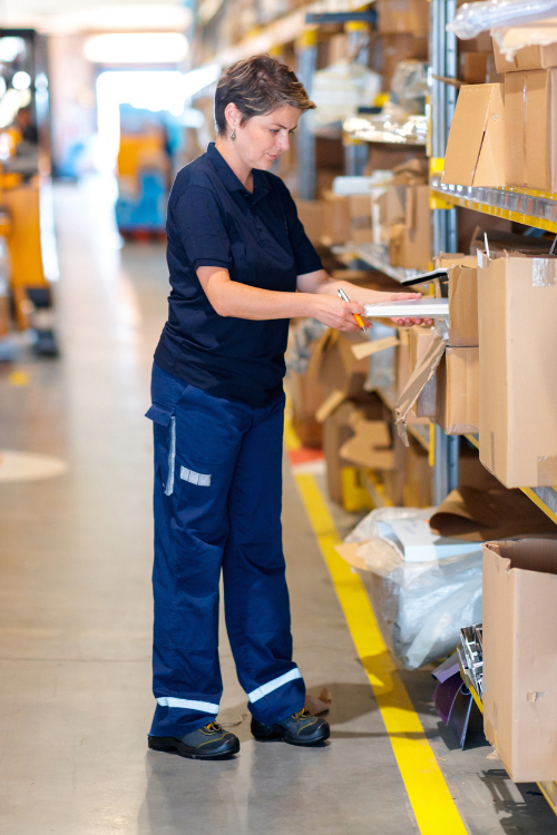 female warehouse worker boots