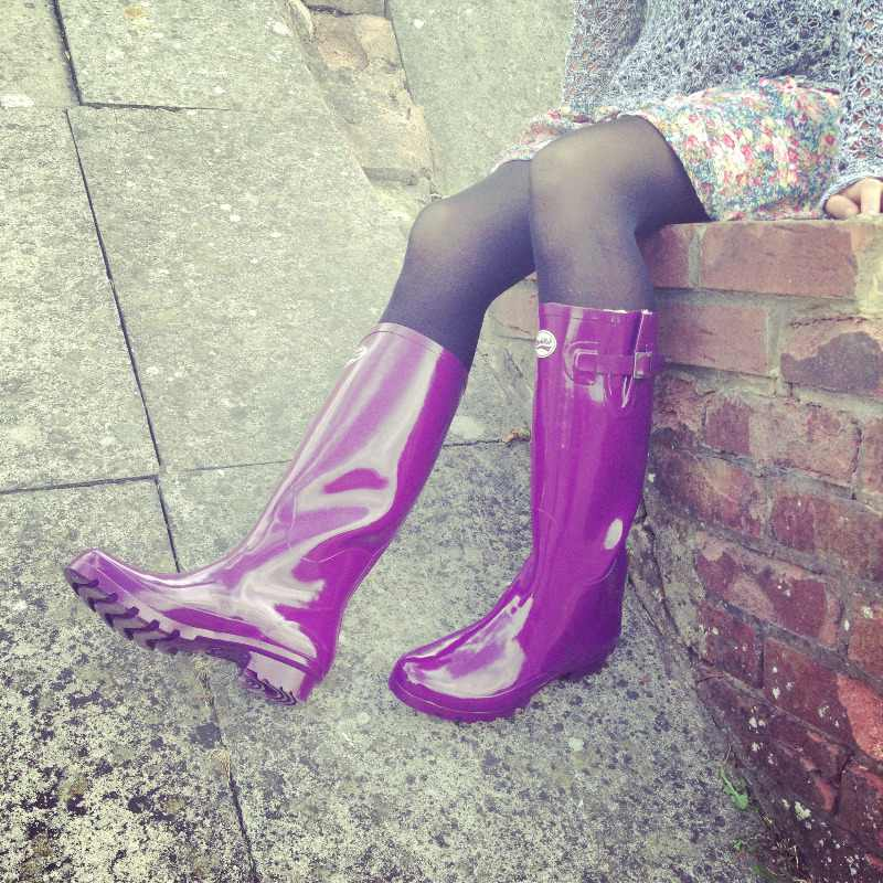 Rockfish Purple Gloss Wellington Boots Wellies Lylia Rose Blog Review