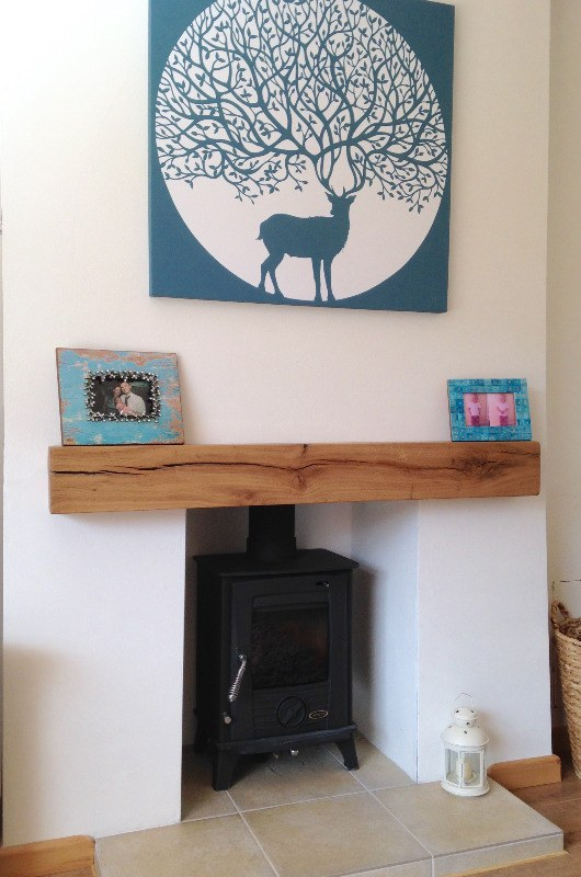 log burner rustic oak beam tile hearth stag canvas teal