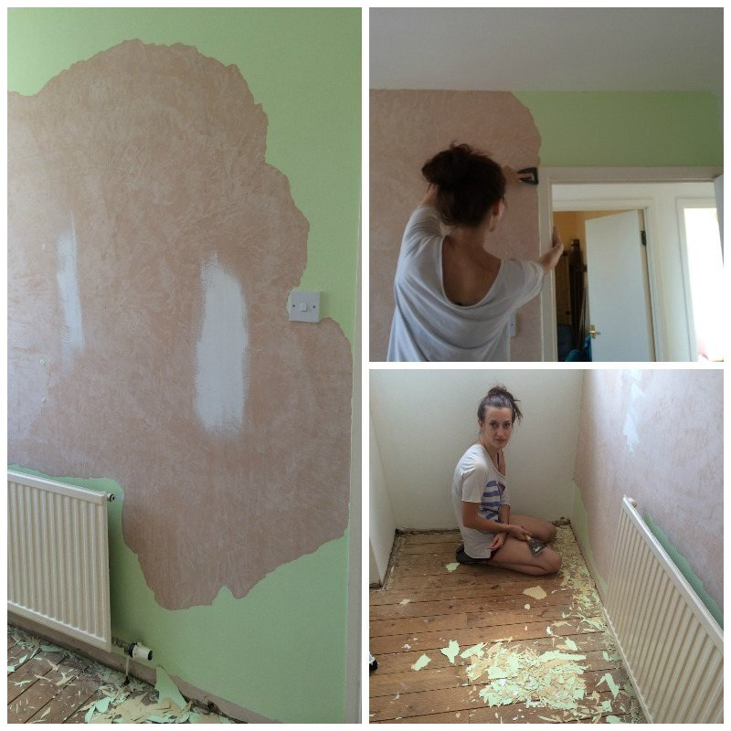 stripping wallpaper and replacing carpet with oak style laminate flooring