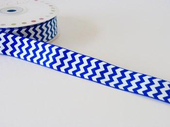 22mm Grosgrain Chevron Ribbon - Royal Blue