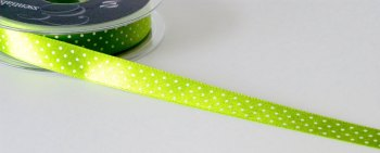 15mm Micro Dot Ribbon - Green
