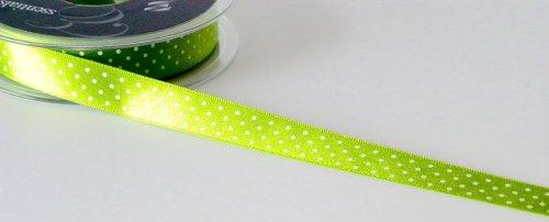 15mm Micro Dot Ribbon - Green
